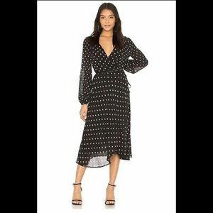 Vintage polka dot long sleeve wrap dress